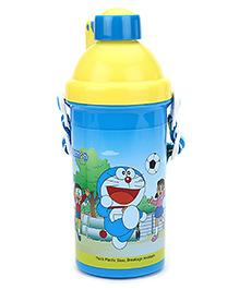 Doraemon Push Button Bottle Blue And Yellow - 500 ml
