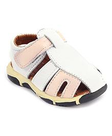 Cute Walk Sandals With Velcro Closure - White And Peach