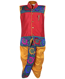 Babyhug Sleeveless Kurta And Dhoti Set Diamond Brooch - Red And Yellow
