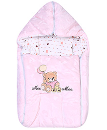 Mee Mee Carry Nest Teddy With Balloon Embroidery - Light Pink