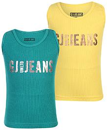 Gini & Jony Sleeveless Vest Pack Of 2 - Green And Yellow