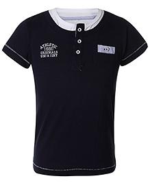 Gini & Jony Half Sleeves T-shirt Athletic 1980 Print - Navy And White