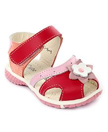 Cute Walk Velcro Sandals Flower Applique -  Red