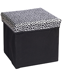 Foldable Storage Box With Lid Square Shape Leopard Print - Black And Silver