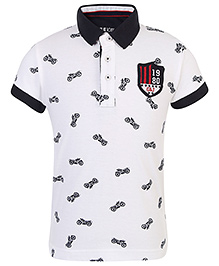 Gini & Jony Polo T-Shirt Vehicle Print  - White