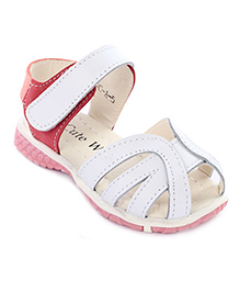Cute Walk Sandals With Velcro Strap - White