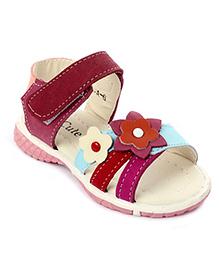 Cute Walk Sandals Velcro Strap Flower Applique - Blue