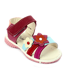 Cute Walk Sandals Velcro Strap Flower Applique - Blue