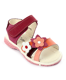 Cute Walk Sandals Velcro Strap Flower Applique - Orange