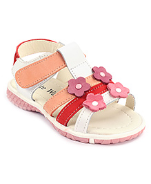 Cute Walk Velcro Sandals Flower Applique - Multi Colour
