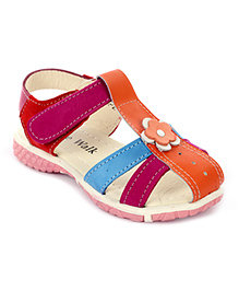 Cute Walk Velcro Sandals Flower Applique - Orange