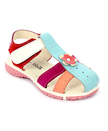 Cute Walk Velcro Sandals Flower Applique - Blue