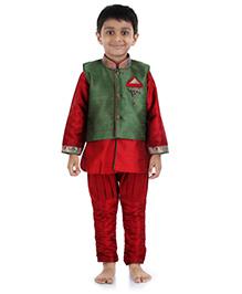 Babyhug Full Sleeves Kurta Breeches And Self Pattern Jacket Set - Green