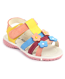 Cute Walk Velcro Sandals Flower Applique - Yellow