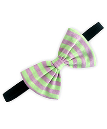 ATUN Striped Print Classic Bow Hairband - Green And Lavender