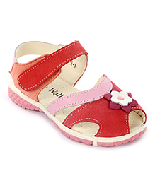 Cute Walk Velcro Sandals Flower Applique - Pink