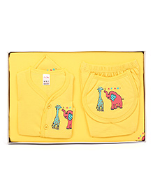 Mybaby Gift Set Elelphant And Giraffe Print 14 Pieces- Yellow