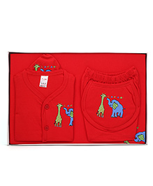 Mybaby Gift Set Elelphant And Giraffe Print 14 Pieces- Red