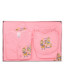 Mybaby Gift Set Teddy Print 14 Pieces - Pink