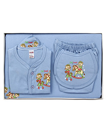 Mybaby Gift Set Teddy Print 14 Pieces - Blue