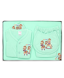 Mybaby Gift Set Teddy Print  14 Pieces - Pista Green