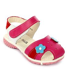 Cute Walk Sandals Velcro Closure Flower Applique - Rose Pink