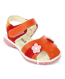 Cute Walk Sandals Velcro Closure Flower Applique - Orange