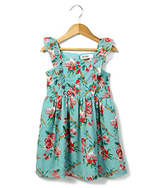 Beebay Georgette Singlet Dress With Flower And Drangonfly Print - Turquiose
