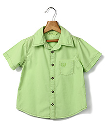 Beebay Half Sleeves Solid Color Dyed Shirt - Light Green
