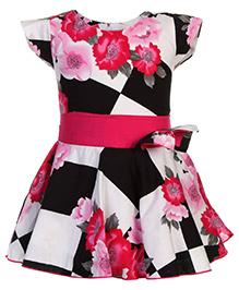 Babyhug Cap Sleeves Frock Bow Embellishment - Pink