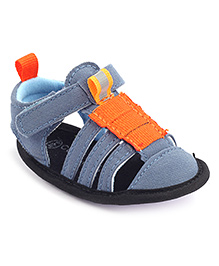 Cute Walk Sandals With Velcro Strap - Blue And Orange