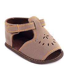 Cute Walk Sandals With Velcro Strap - Brown
