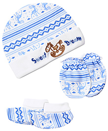 Cap Mittens And Booties Set with Sweet Dream Print- White And Blue