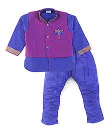 Babyhug Full Sleeves Kurta Breeches And Self Pattern Jacket Set - Blue