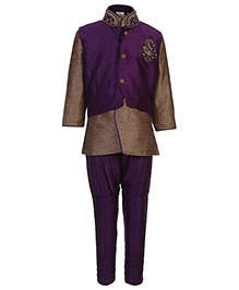 Babyhug Kurta And Pajama With Jacket Diamond Work - Purple