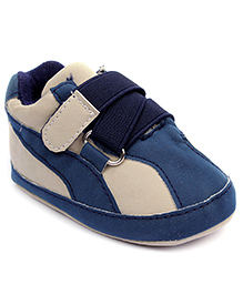 Cute Walk Shoes Style Booties Velcro Closure - Navy Blue