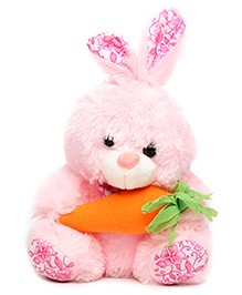 Tickles Rabbit Soft Toy With Carrot Applique - Light Pink