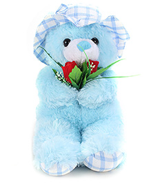 Tickles Teddy Bear With Rose Applique - Blue