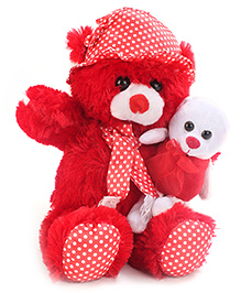 Tickles Teddy Bear With Small Soft Toy - Red - 562705