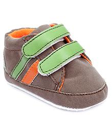 Cute Walk Booties Dual Velcro Closure - Brown