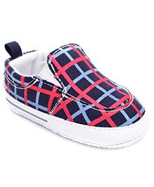 Cute Walk Slip-On Booties Checks - Navy Blue
