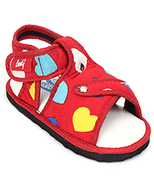 Indman Booty Velcro Sandals Hearts - Red