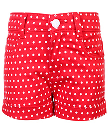 Babyhug Shorts Polka Dots Pattern - Red