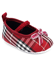 Cute Walk Belly Shoes Style Booties Checks Print - Red