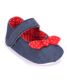 Cute Walk Belly Style Booties With Velcro Strap - Navy Blue And Red