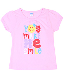 Tango Half Sleeves Top Caption Print - Light Pink