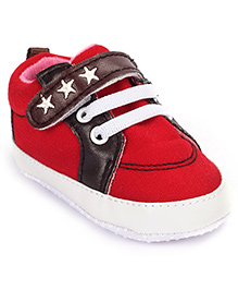 Cute Walk Booties With Velcro Closure Star Design - Red