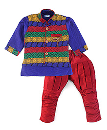Babyhug Kurta And Jodhpuri Pajama With Jacket Brooch Design - Blue And Maroon