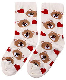 Cute Walk Socks Teddy Bear Design - Cream And Brown