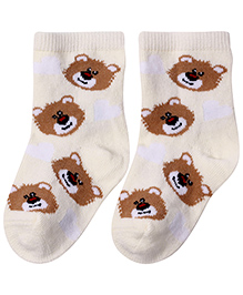 Cute Walk Socks Teddy Bear Design - Cream